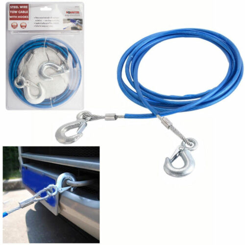 4M HEAVY DUTY CAR STEEL TOW ROPE WITH HOOKS 2TONS RECOVER EMERGENCY CABLE VAN UK