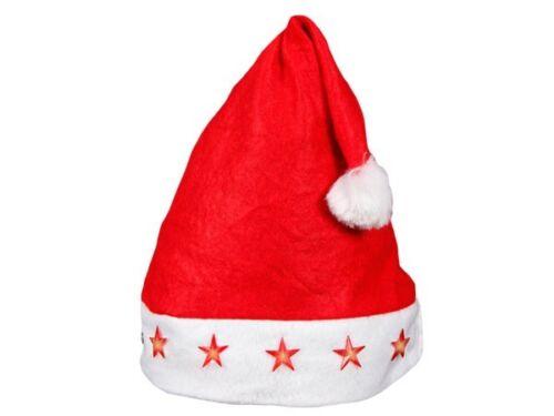 Sets Weihnachtsmütze Nikolaus-Mütze Weihnachtmützen Blinkend LED Sterne Rot 15