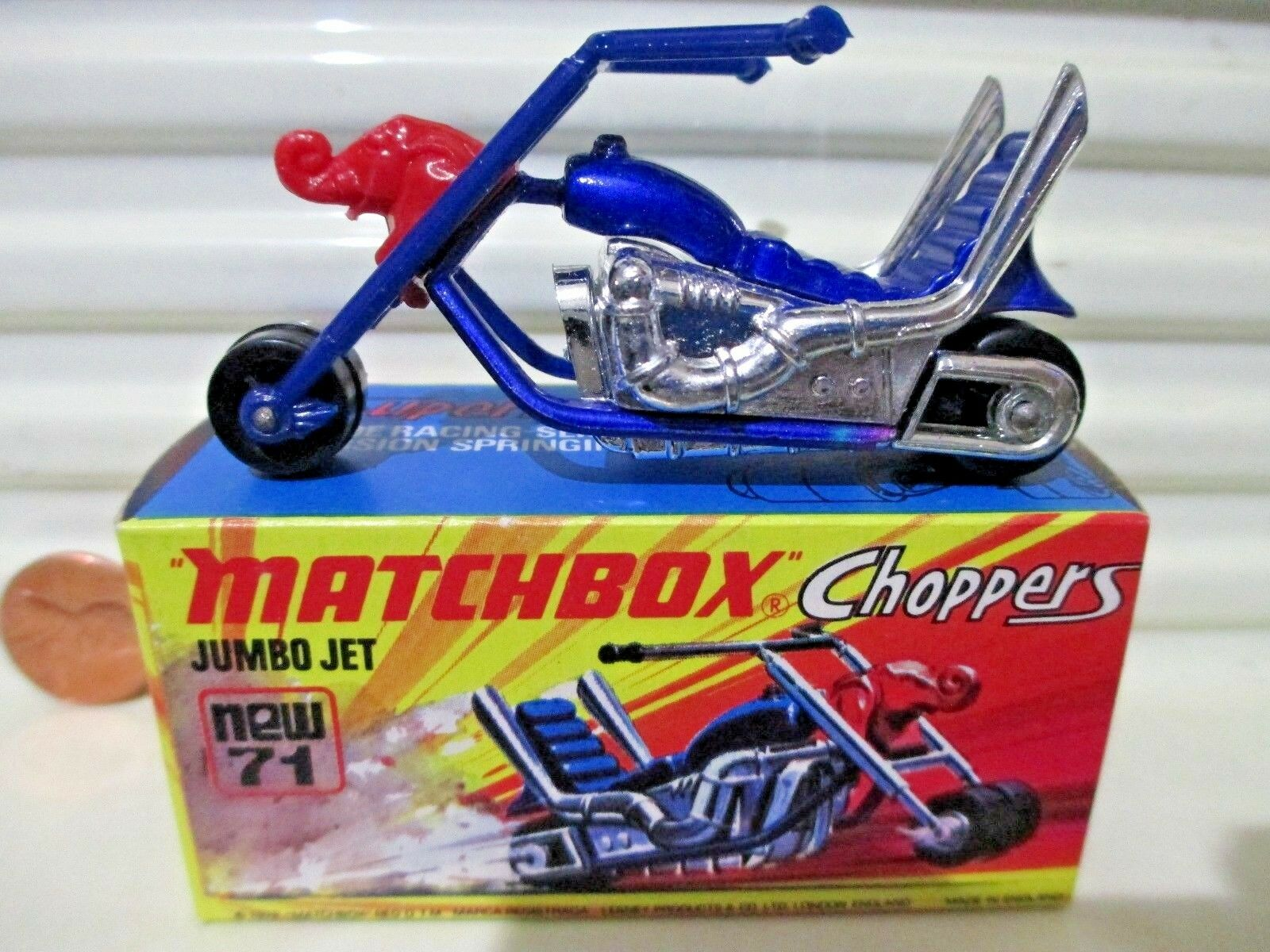 Lesney Matchbox 1972 MB71B JUMBO JET Motorcycle Factory Mint in Crisp NuMint Box