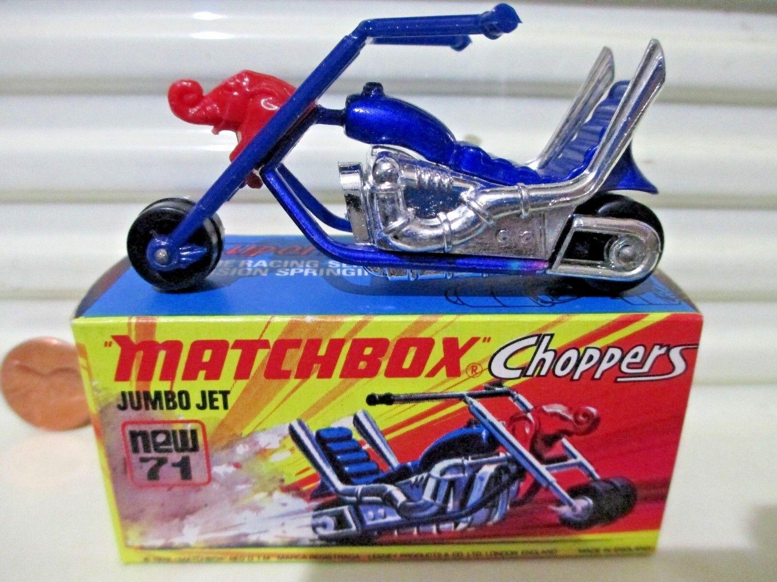 Lesney Matchbox 1972  MB71B JUMBO JET Motorcycle Factory Mint in Crisp NuMint Box  pas cher en haute qualité