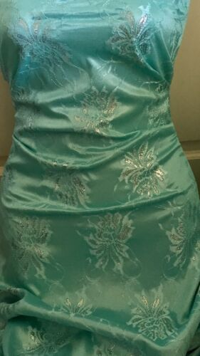 """5 MTR TURQUOISE METALLIC LACE ON SATIN BRIDAL FABRIC...60/"""" WIDE £19.99"""