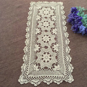 Vintage-Lace-Table-Runner-Dresser-Scarf-Hand-Crochet-Rectangle-Doily-15x35inch