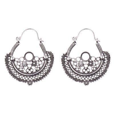 Hot Retro Bohemian Boho Women Antique Silver Hollow Flowers Hook Dangle Earrings