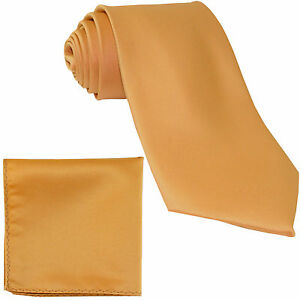 New-Polyester-Men-039-s-Neck-Tie-amp-hankie-set-solid-party-formal-wedding-prom-gold