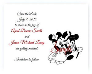 100 Personalized Custom Mickey and Minnie Disney Wedding Save The Date Cards