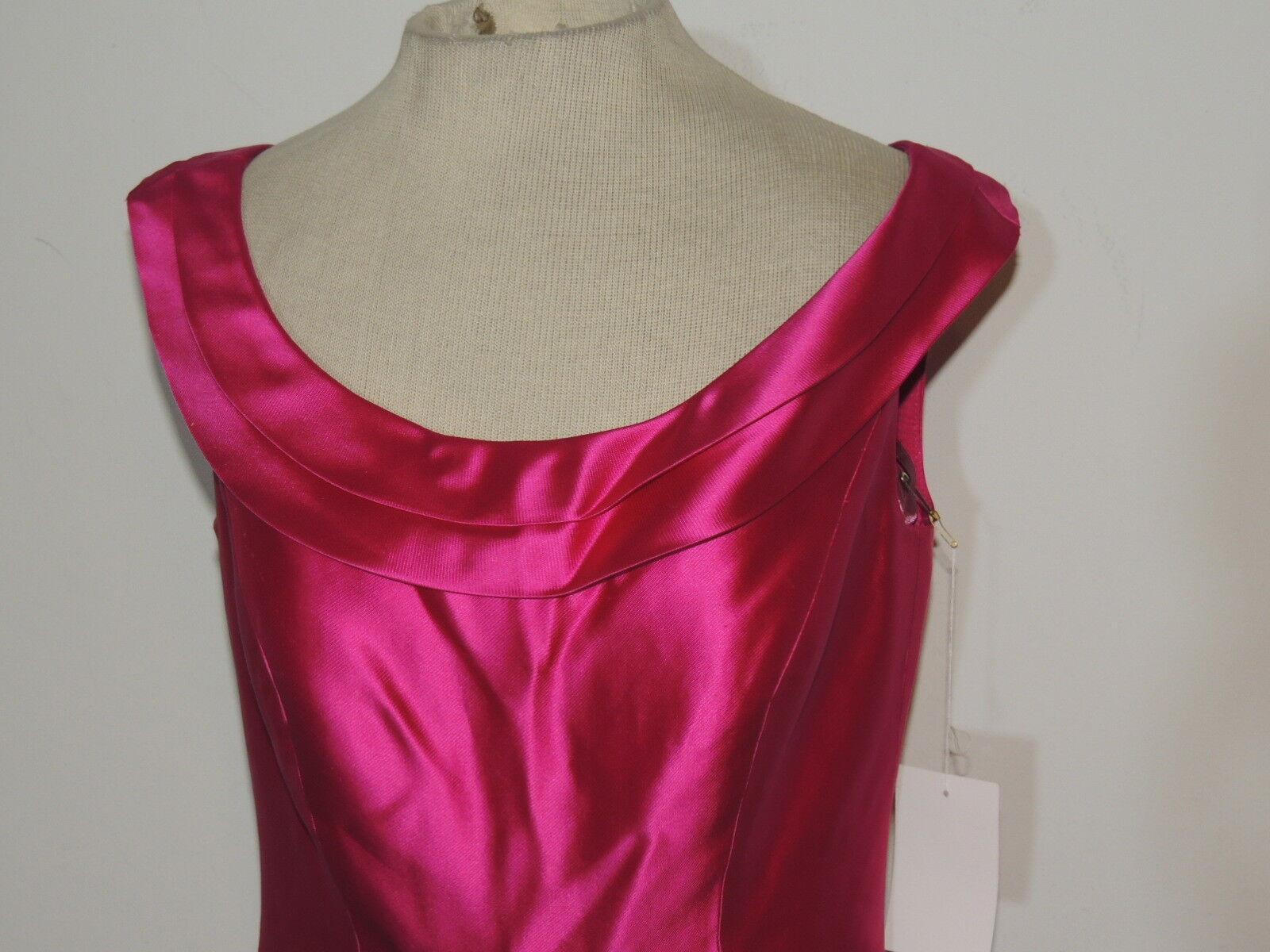 Sample Fuchsia Silk Twill Dress w Overskirt sz sz sz 8 NWT 4f952d