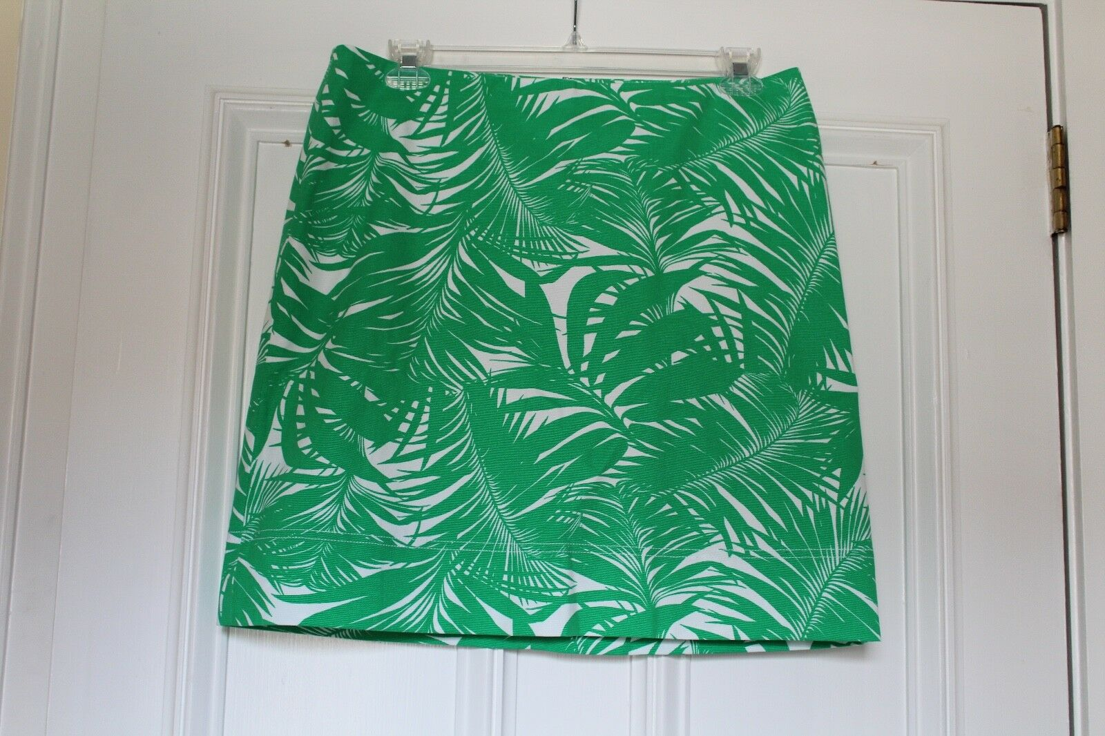 S Talbots Green & White Palm Leaf Tropical Print Skirt Cotton Lined  Size 14