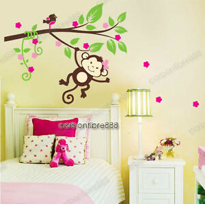 Image Is Loading Monkey Blossom Tree Wall Stickers Girls Room Art  Part 60