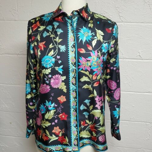 Bessi Floral Print Silk Blouse Size 6