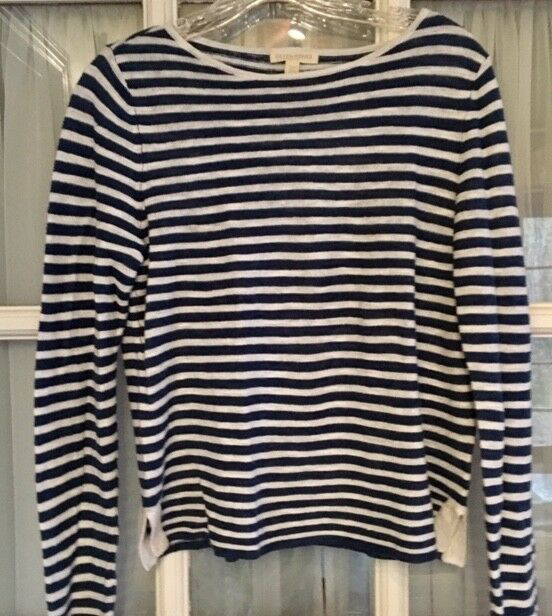 Super EILEEN FISHER bluee white striped linen cotton cotton cotton sweater top NWOT da5bb6