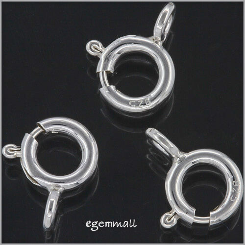 BEADIA 925 Sterling Silver Spring Clasps 8mm for Jewelry Making Findings 6pcs