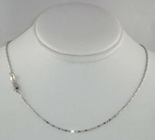"""14K Solid Real White Gold Diamond Cut Bead Bar Chain Necklace 1.2mm 18/"""" Women"""