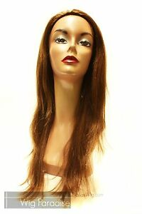 SALE-100-Human-Hair-3-4-Wig-Half-Wig-with-Combs-HR-Silky-Fall-Wig