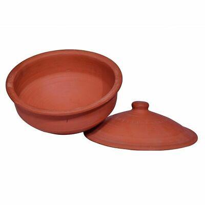 Terracotta Clay Curd Pot With Lid Table Serving Bowls Making Yogurt Salad 1.5 Lt