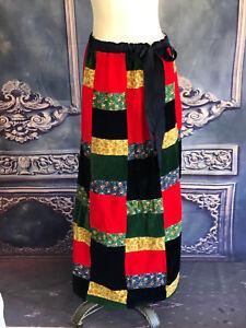 VNTG-1970s-Velvet-Patchwork-Maxi-Skirt-SM-Med-Lrg-Hippy-Grosgrain-Ribbon-J-Estes