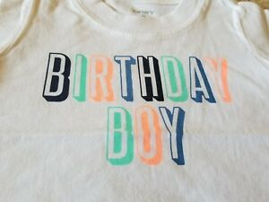 Size 9 Months Carters White Birthday Boy T Shirt Short Sleeve New With Tag