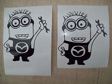 ( 2 ) MINIONS MAZDA CAR,Decals Sticker,minion JMD JOKE FUN WINDOW BUMPER MIRRORS