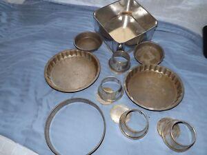 Vintage-Lattine-Stampi-Torta-Flain-Pudding-Lotto-Accessori-da-Cucina-Metallo