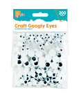 200 Googly Eyes 3 Sizes Wobbly Wiggly Arts & Crafts Fun Kids Children Craft Art