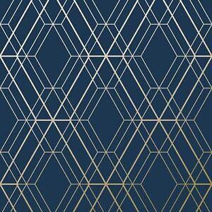 Image Is Loading METRO DIAMOND GEOMETRIC WALLPAPER BLUE GOLD WOW003 WORLD