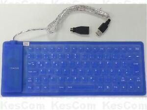 flexible tastatur ps 2 usb wasserdicht einrollbar blau deutsches layout win10 ebay. Black Bedroom Furniture Sets. Home Design Ideas