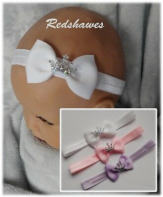 soft stretchy elasticated Baby Headband with 5cm Bow free postage Em1