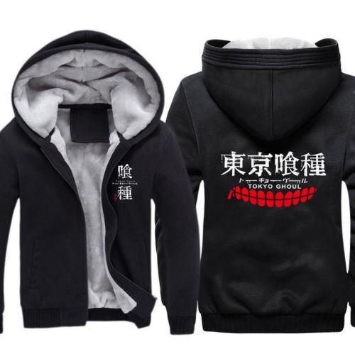 Anime Tokyo Ghoul Kaneki Ken Cosplay Hoodie Zipper Winter Thick Coat Sweatshirts