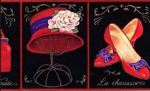Wallpaper-Border-Ladies-Red-Hats-amp-Accossories-Purse-Shoes-Eyeglasses-on-Black