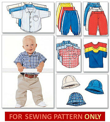 SEWING PATTERN! MAKE PANTS~SHIRTS~HAT! BABY~TODDLER BOYS! SIZE NEWBORN TO 28 LBS