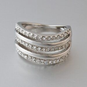 Sale-18k-White-Gold-Plated-Stamped-Ring-Swarovski-Crystal-Size-Q-8-Gift-n-Box