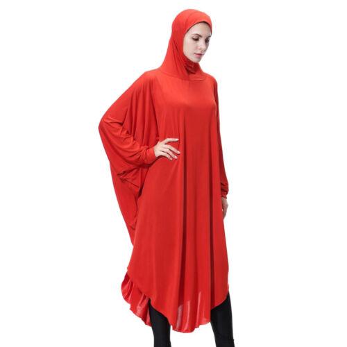 Women/'s Arab Muslim Abaya One-piece Overhead Hijab Prayer Kaftan Robe Dress