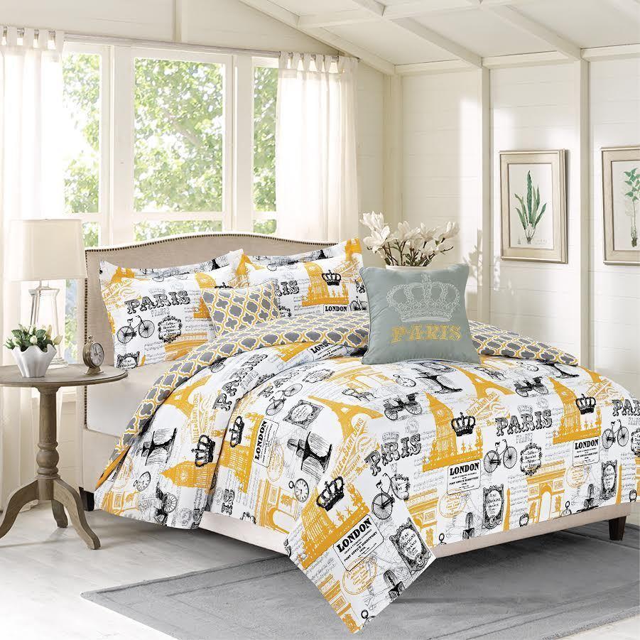 Bon Voyage Comforter Set, Reversible Vintage Design, Paris, Eiffel Tower, London