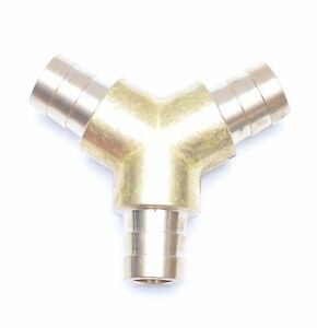 Triple Barb Y 5/8 Hose ID Brass Fitting Irrigation Air, Fuel, Water Fasparts