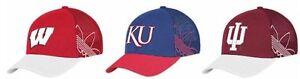 New NCAA adidas College Structured Flex Fit Hat Cap Kansas Wisconsin Indiana