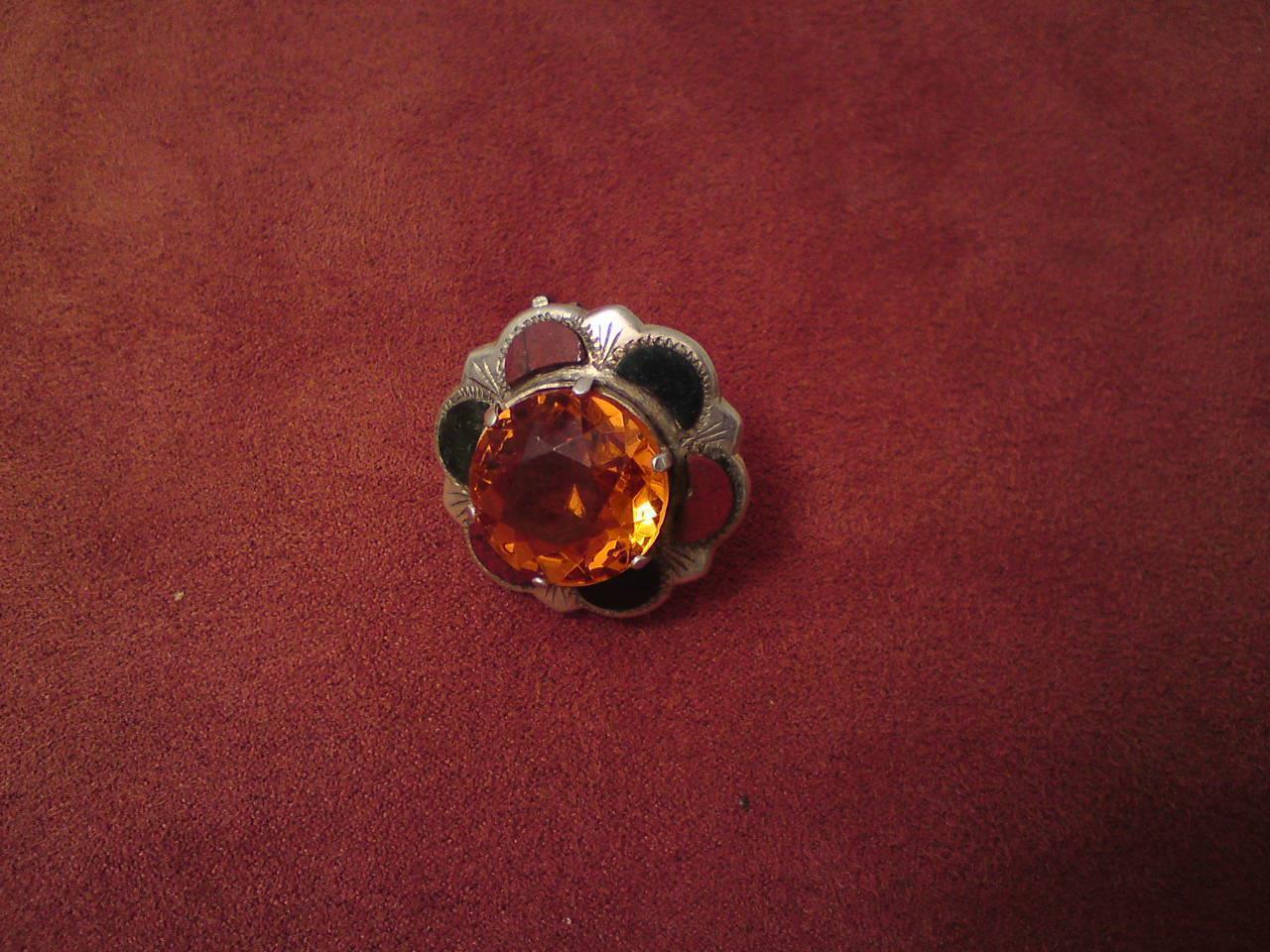 Antico Vittoriano argentoo Scozzese Agata Cairngorm Arancione TOPAZIO Spilla di di di vetro 9fc7de