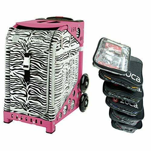 Zuca Zebra Sport Insert Bag with Pink Frame, and Organization Packing Pouch Set