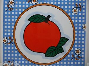 "Vintage Decorative Hand Painted Tile BIG RED APPLE 6"""