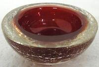 Ascher / Schale, unsigniert, rot klar, H ca. 4,5cm, Dm 10 cm, ca. 490 gr