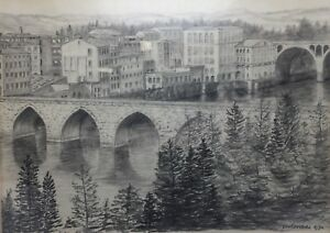 Pencil-Sketch-Drawing-Original-Art-Bridge-River-Tarn-Albi-France-VanRensburg-90s