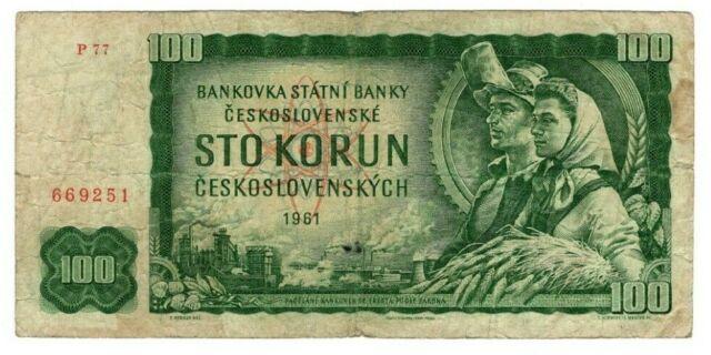 CZECHOSLOVAKIA 100 Korun (1961) P-91 Prefix P 77 F Banknotes Paper Money