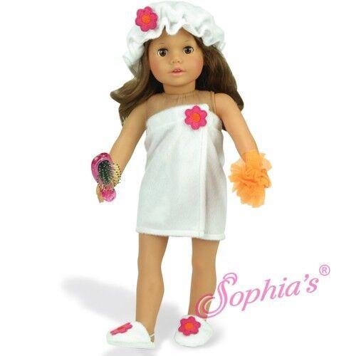 """White Fluffy Towel Wrap Cap Sponge Hairbrush Set 18"""" Girl Doll SHOWER SET"""