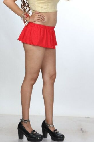 Sólo Falda Corta 8 Pulgadas Rojo Divas Micro Mini Falda Elástica Mujeres Mini Falda 002