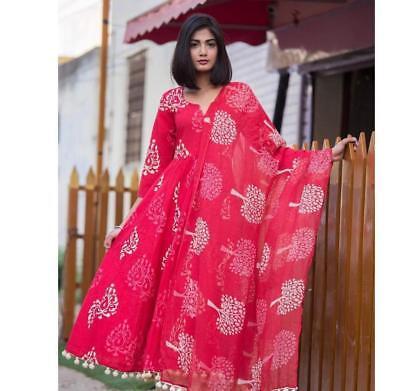Indian kurta dress With dupatta pant Flare Top Tunic Set blouse Combo Ethnicff34