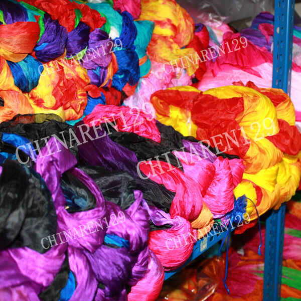 HAND MADE PAIRS 1.5M BELLY DANCE 100/% SILK BAMBOO FAN VEILS MULTICOLOR BAG