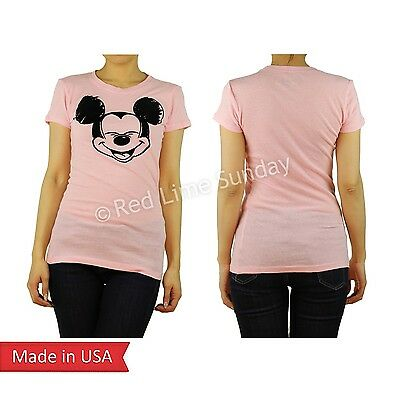 Disney Flock Print Cute Big Smile Mickey Mouse Face Pink T Shirt Top Junior USA