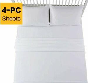 EMONIA-4-Pcs-White-Twin-Bed-Sheet-Set-Microfiber-Super-Soft-1800-Thread-Count