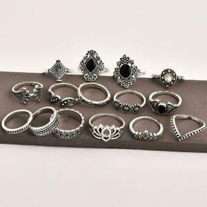 15-teile-satz-Finger-Ring-Vintage-Hohl-Lotus-Punk-Knuckle-Schmuck-Ringe-W4Z5