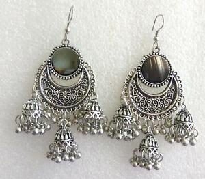 Silver Oxidised Indian Ethnic Jhumka Earrings Bollywood Traditional Jewellery