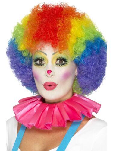 Clown Neck Ruffle Pink Adult Womens Fancy Dress Accessory