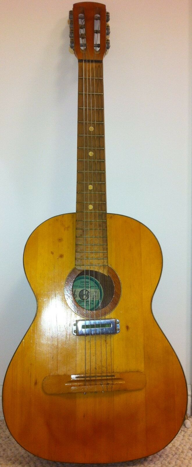 Antique Vintage 1970s Guitar 7 Strings Acoustic